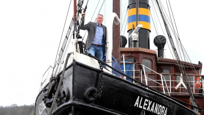 Arne Rüstemeier an Bord des Salondampfers Alexandra